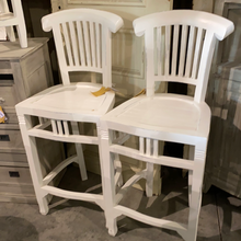 Load image into Gallery viewer, Handmade White Wooden Barstools