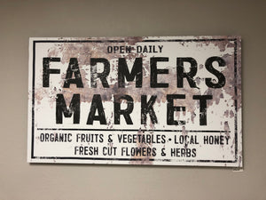 "Canvas Farmers Market Sign 50"" x 30"""