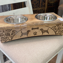 Load image into Gallery viewer, Mango Wood Designer Dog Bowls Brown