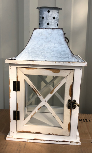 Cottage Lantern Wood & Tin