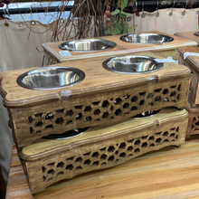 Load image into Gallery viewer, Mango Wood Designer Pet Bowls Honeycomb