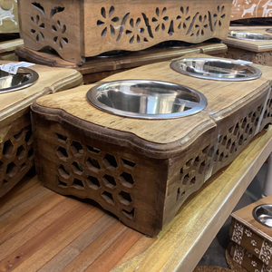 Mango Wood Designer Pet Bowls Honeycomb