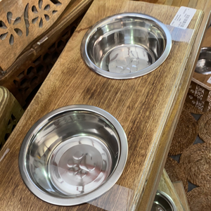 Modern Farmhouse Mango Wood Pet Bowls Floral