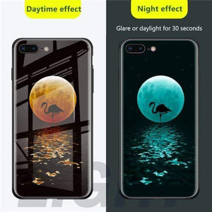 Rawston Store (AliExpress) For 6 plus 6s plus / Flamingo Marvel Avengers Batman Luminous Tempered Glass Case for iPhone