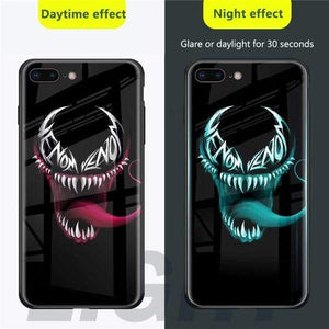 Rawston Store (AliExpress) For iphone 8 / Venom Marvel Avengers Batman Luminous Tempered Glass Case for iPhone