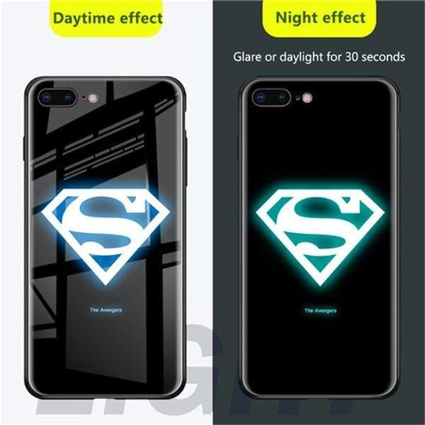 Rawston Store (AliExpress) For iphone x xs / Superman Marvel Avengers Batman Luminous Tempered Glass Case for iPhone