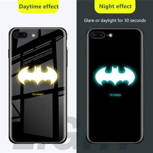Rawston Store (AliExpress) For iphone xr / Batman Marvel Avengers Batman Luminous Tempered Glass Case for iPhone