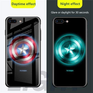 Rawston Store (AliExpress) For iphone xr / Captain Marvel Avengers Batman Luminous Tempered Glass Case for iPhone