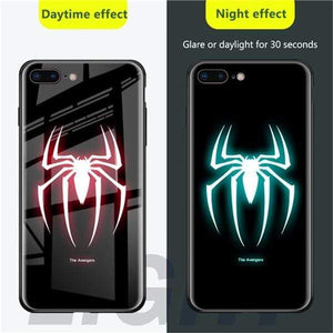 Rawston Store (AliExpress) For iphone xr / Spider Marvel Avengers Batman Luminous Tempered Glass Case for iPhone
