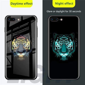 Rawston Store (AliExpress) For iphone xr / Tiger Marvel Avengers Batman Luminous Tempered Glass Case for iPhone