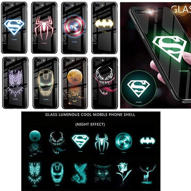 Rawston Store (AliExpress) Marvel Avengers Batman Luminous Tempered Glass Case for iPhone