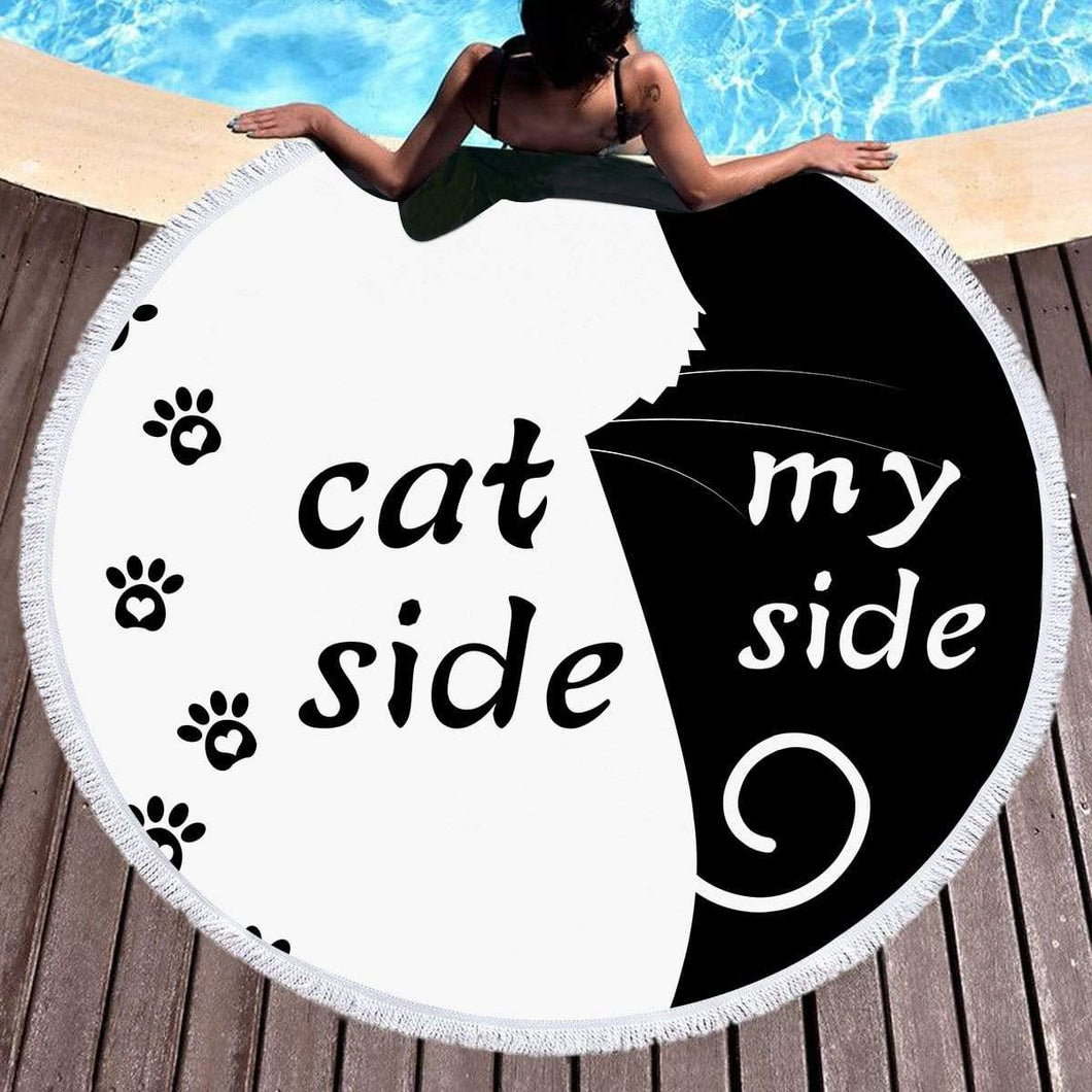 Shop2721027 Store (AliExpress) cat / 150x150cm Summer Large Round Beach Towel DOG CAT and MY Side for Adults.