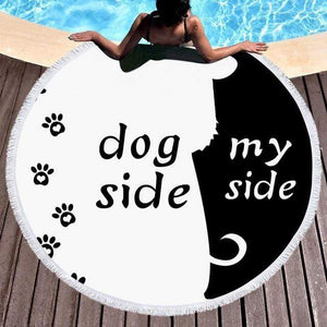 Shop2721027 Store (AliExpress) dog / 150x150cm Summer Large Round Beach Towel DOG CAT and MY Side for Adults.