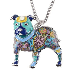 Store No. 210399 Blue Pit Bull Enamel Necklace
