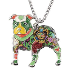 Store No. 210399 Green Pit Bull Enamel Necklace