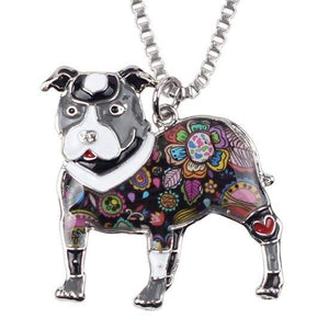 Store No. 210399 Grey Pit Bull Enamel Necklace