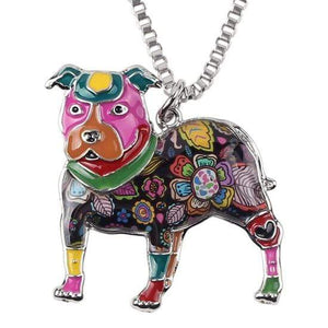 Store No. 210399 Multiclor Pit Bull Enamel Necklace