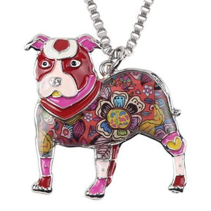 Store No. 210399 Red Pit Bull Enamel Necklace