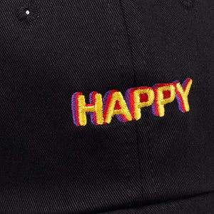 The KedStore 2018 new SLOUCH HAPPY TEXT LOGO dad hat ADJUSTABLE CURVED BILL DAD HAT BASEBALL CAP STRAPBACK NWT
