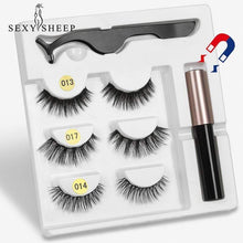 Load image into Gallery viewer, The KedStore 3 Pairs Magnetic Eyelashes set & Magnet Liquid Eyeliner & Tweezer Waterproof Long Lasting Eyelashes