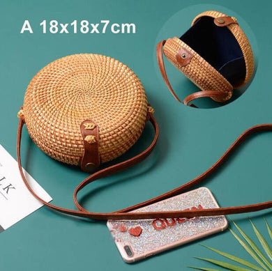 The KedStore A xiao yuan bao Round Handmade Woven Rattan Beach Cross Body Circle Bohemia Straw Handbag