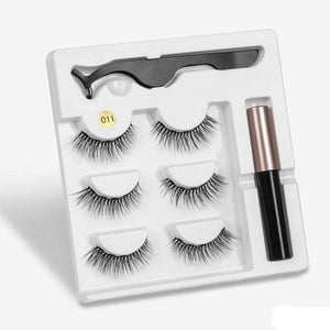 The KedStore a011 3 Pairs Magnetic Eyelashes set & Magnet Liquid Eyeliner & Tweezer Waterproof Long Lasting Eyelashes