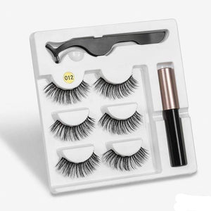 The KedStore a012 3 Pairs Magnetic Eyelashes set & Magnet Liquid Eyeliner & Tweezer Waterproof Long Lasting Eyelashes