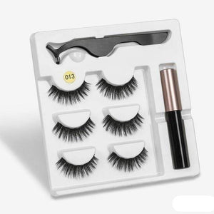 The KedStore a013 3 Pairs Magnetic Eyelashes set & Magnet Liquid Eyeliner & Tweezer Waterproof Long Lasting Eyelashes