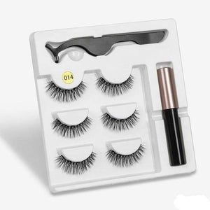 The KedStore a014 3 Pairs Magnetic Eyelashes set & Magnet Liquid Eyeliner & Tweezer Waterproof Long Lasting Eyelashes