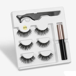 The KedStore a015 3 Pairs Magnetic Eyelashes set & Magnet Liquid Eyeliner & Tweezer Waterproof Long Lasting Eyelashes