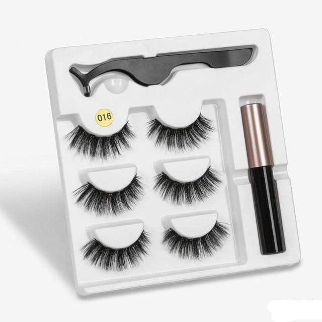 The KedStore a016 3 Pairs Magnetic Eyelashes set & Magnet Liquid Eyeliner & Tweezer Waterproof Long Lasting Eyelashes
