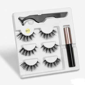 The KedStore a017 3 Pairs Magnetic Eyelashes set & Magnet Liquid Eyeliner & Tweezer Waterproof Long Lasting Eyelashes