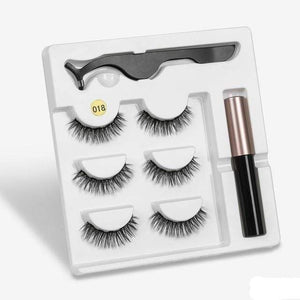 The KedStore a018 3 Pairs Magnetic Eyelashes set & Magnet Liquid Eyeliner & Tweezer Waterproof Long Lasting Eyelashes