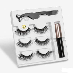 The KedStore a019 3 Pairs Magnetic Eyelashes set & Magnet Liquid Eyeliner & Tweezer Waterproof Long Lasting Eyelashes