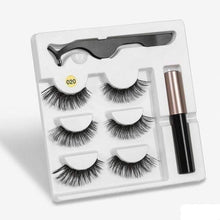 Load image into Gallery viewer, The KedStore a020 3 Pairs Magnetic Eyelashes set & Magnet Liquid Eyeliner & Tweezer Waterproof Long Lasting Eyelashes
