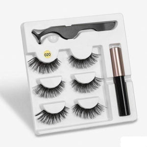 The KedStore a020 3 Pairs Magnetic Eyelashes set & Magnet Liquid Eyeliner & Tweezer Waterproof Long Lasting Eyelashes