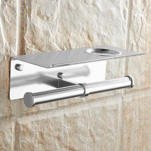 The KedStore Aluminum Matte 2 Bathroom Toilet Paper Holder with a Shelf