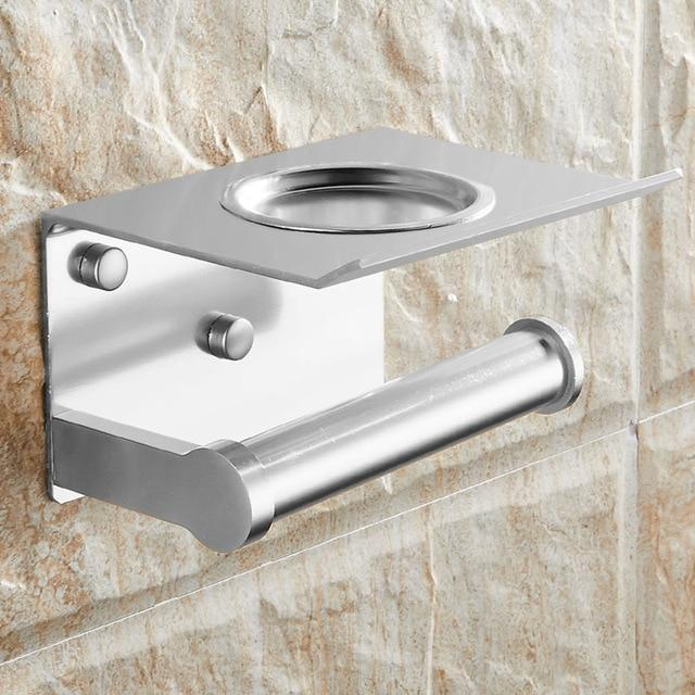 The KedStore Aluminum Matte Bathroom Toilet Paper Holder with a Shelf