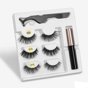The KedStore amix002 3 Pairs Magnetic Eyelashes set & Magnet Liquid Eyeliner & Tweezer Waterproof Long Lasting Eyelashes