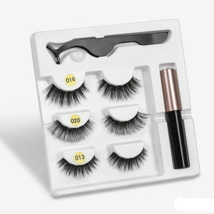 The KedStore amix003 3 Pairs Magnetic Eyelashes set & Magnet Liquid Eyeliner & Tweezer Waterproof Long Lasting Eyelashes
