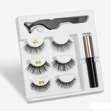 Load image into Gallery viewer, The KedStore amix004 3 Pairs Magnetic Eyelashes set & Magnet Liquid Eyeliner & Tweezer Waterproof Long Lasting Eyelashes