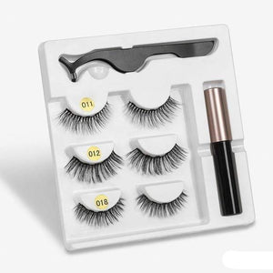 The KedStore amix004 3 Pairs Magnetic Eyelashes set & Magnet Liquid Eyeliner & Tweezer Waterproof Long Lasting Eyelashes
