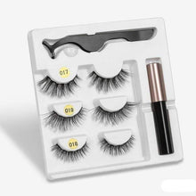 Load image into Gallery viewer, The KedStore amix005 3 Pairs Magnetic Eyelashes set & Magnet Liquid Eyeliner & Tweezer Waterproof Long Lasting Eyelashes