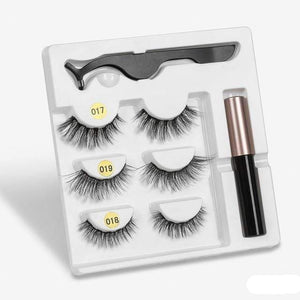 The KedStore amix005 3 Pairs Magnetic Eyelashes set & Magnet Liquid Eyeliner & Tweezer Waterproof Long Lasting Eyelashes