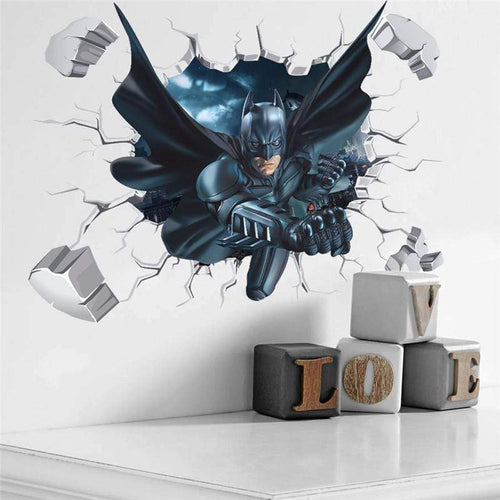 The KedStore Batman & Spiderman Wall Sticker Art 3D Effect - hombre murciélago