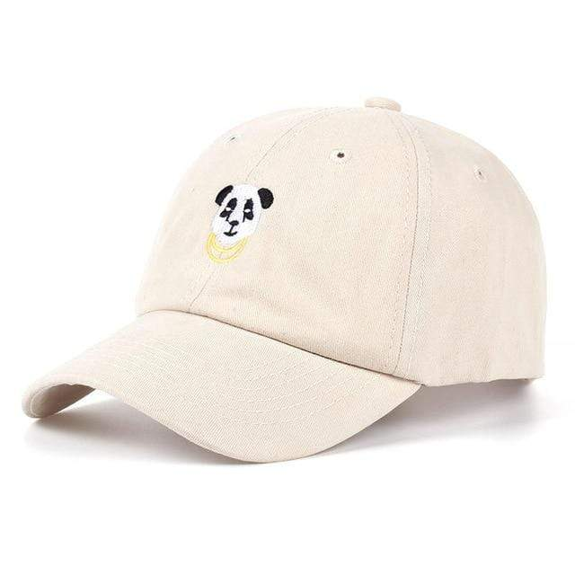 The KedStore Beige VORON 2017 new Panda Gold Chains Baseball Cap Curved Bill Dad Hat men women 100% Cotton golf snapback cap hats wholesale retail