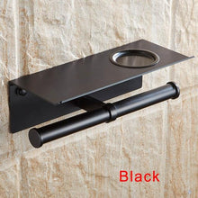 Load image into Gallery viewer, The KedStore Black 2 Bathroom Toilet Paper Holder with a Shelf