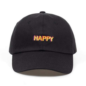 The KedStore Black 2018 new SLOUCH HAPPY TEXT LOGO dad hat ADJUSTABLE CURVED BILL DAD HAT BASEBALL CAP STRAPBACK NWT