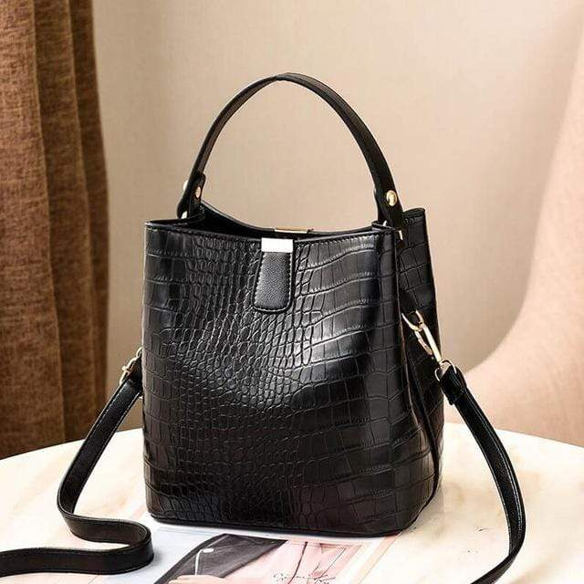 The KedStore Black / (30cm<Max Length<50cm) Crocodile Pattern Handbag Shoulder Messenger Bag