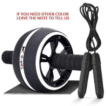 "Load image into Gallery viewer, The KedStore Black B with Rope / 12.99""*6.61"" 2 in 1 ab roller & jump rope no noise abdominal wheel with mat for arm waist leg exercise 